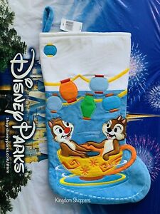 New Disney Parks Chip N Dale In Mad Tea Party Teacup Christmas Holiday Stocking