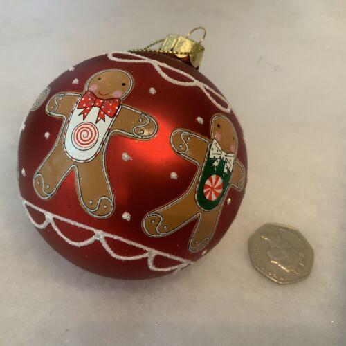 Verre Rouge Gingerbread Man Babiole pendaison arbre de Noël Décoration Gisela Graham