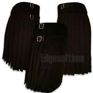 SCOTTISH-HIGHLAND-BLACK-DRESS-PLAIN-TARTAN-KILT-SIZES-FROM-26-034-TO-48-034