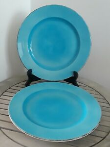NEW-Set-of-2-Hand-Painted-Ceramiche-Toscane-Dinner-Plates-Turquoise-Blue-Italy