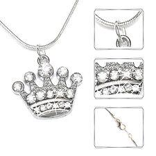 Halskette KRONE Kette Strass Schlangenkette Schmuck Mode silber Damen Mädchen