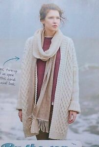 KNITTING-PATTERN-Ladies-Cable-Open-Cardigan-Rowan-Long-Ribbed-Sleeves-PATTERN