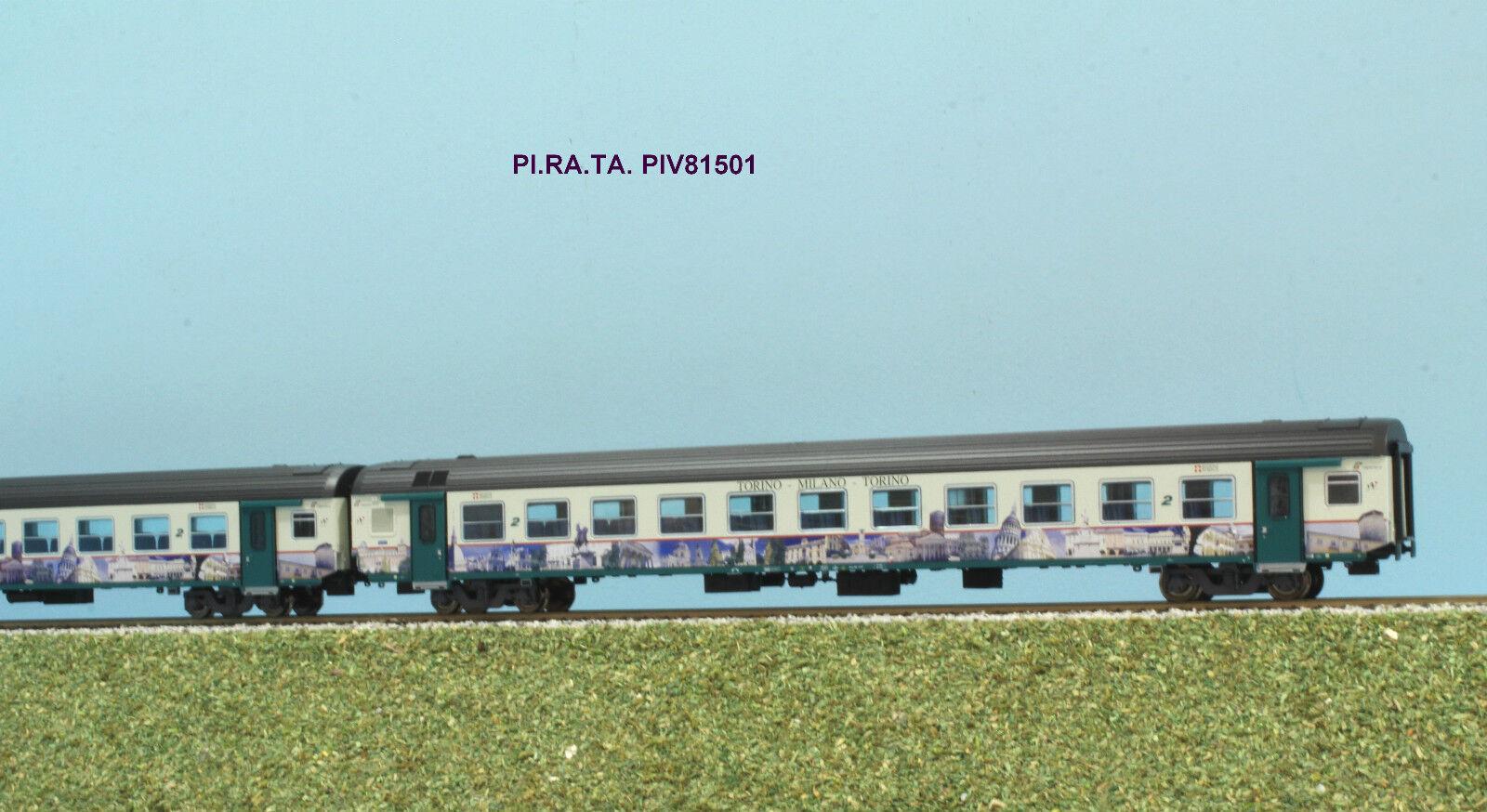 PI.RA.TA PIV 81501 FS set 2 carrozze MDVE  FS livrea regionale Piemonte TO-MI-TO