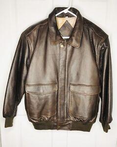 Blouson M pour cuir aviateur 1980années en hommetaille brun hommeannées moyen pour 1990 ulcFK1JT3