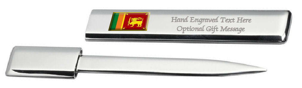 Sri Lanka Drapeau Engraved Post Lettre Bottle Opener Étui