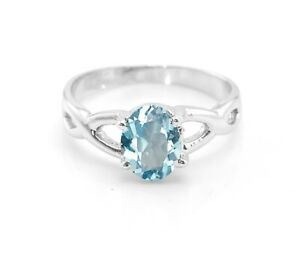 925-Sterling-Silver-Blue-Topaz-Ring-Natural-Cross-Shank-Solitaire-Size-4-11