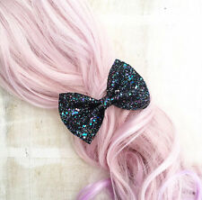 Super sparkly glitter hair bow, black, blue purple Kawaii pin up Mermaid