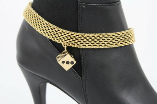 Women Silver Metal Boot Chain Bling Cross Western Rodeo Shoe Charm Anklet Strap