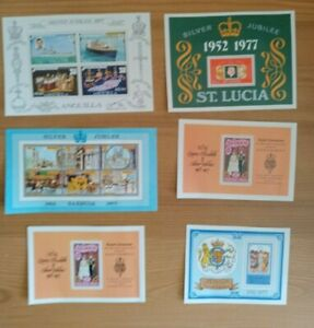 15 x commonwealth stamp mini-sheets 1977 QE11 SILVER JUBILEE COLLECTION / MIX
