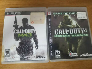 Lot of 2 Playstation 3 Call of Duty 2 & 3 Modern Warfare Video Games Complete