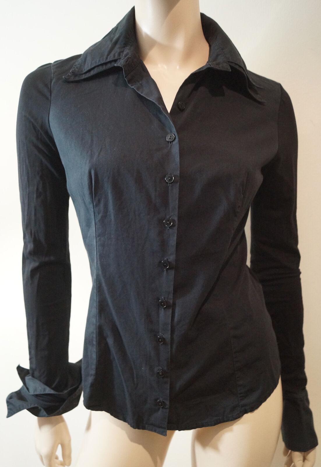 Anne Fontaine da donna nero nero nero Alison Cotone Pima Con Colletto Blusa FR38 UK8 1764f6