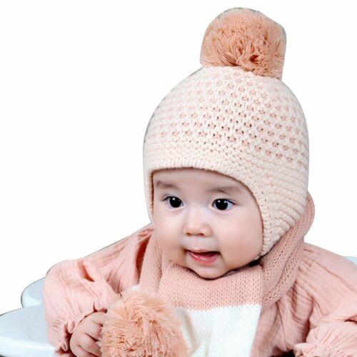 Toddler Kids Girl/&Boy Baby Winter Warm Crochet Knit Hat Scarf Beanie Cap 3-12Mon