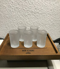 Jägermeister Set: Holztablett + 6 Stück 2cl/4cl Shotgläser