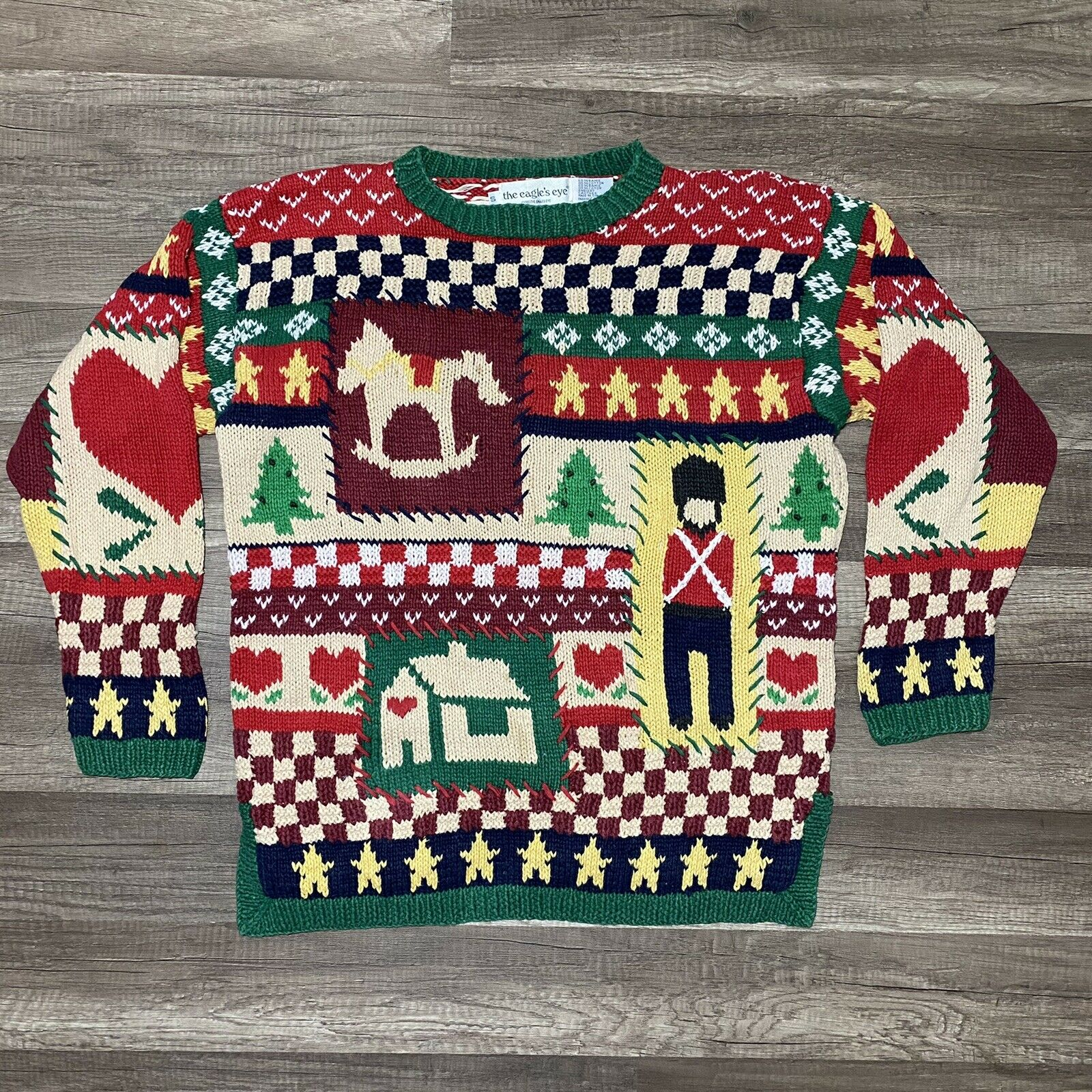 VTG The Eagle's Eye Hand Knit Ugly Christmas Pullover Sweater Women's Small