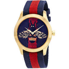 cdaa7ab29d9 Gucci G-Timeless Blue and Red Dial wth an Embroidered Bee Ladies Watch  YA1264061