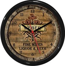 """Wine Barrel Wall Clock personalized 10"""" Gift  Beer Liquor Kitchen Bar Gift"""