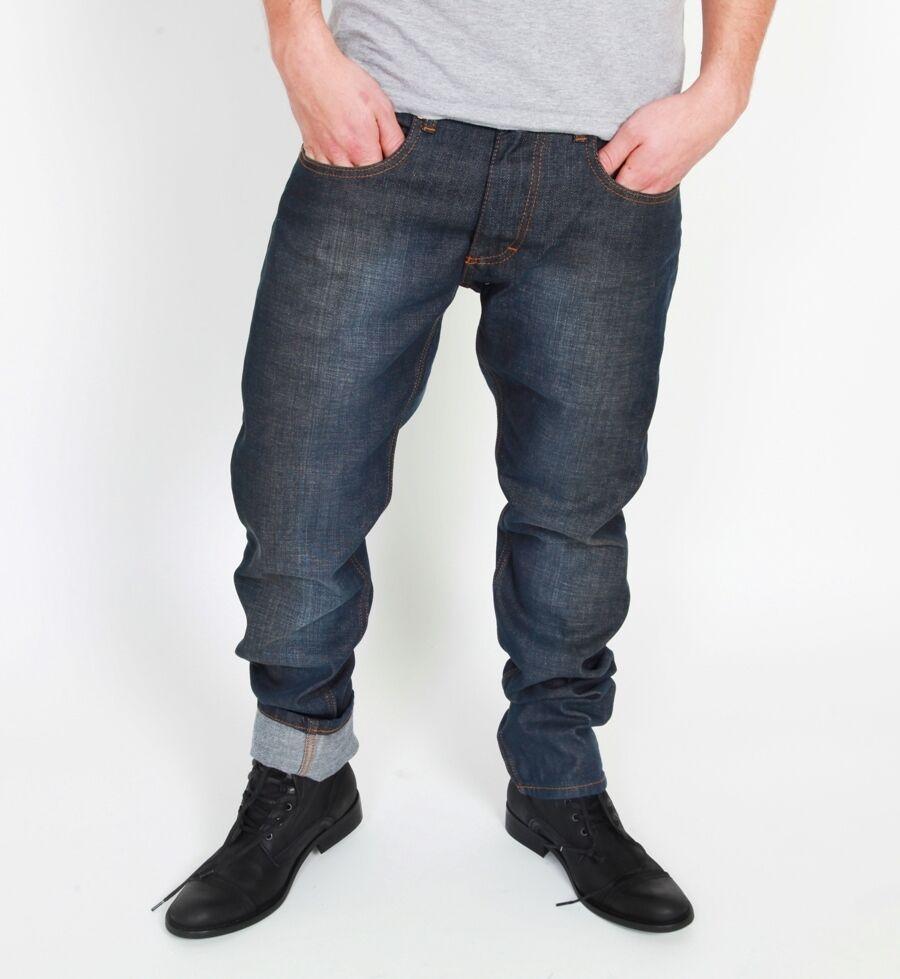 RVLT Revolution Raw Anker Jeans Denim dark bluee Slim Fit Used Look Hose Röhre