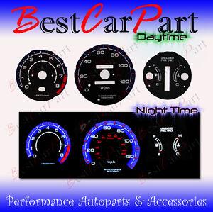 96-00 Honda Civic MT w//o Tach Reverse White Gauges Blue indiglo kit