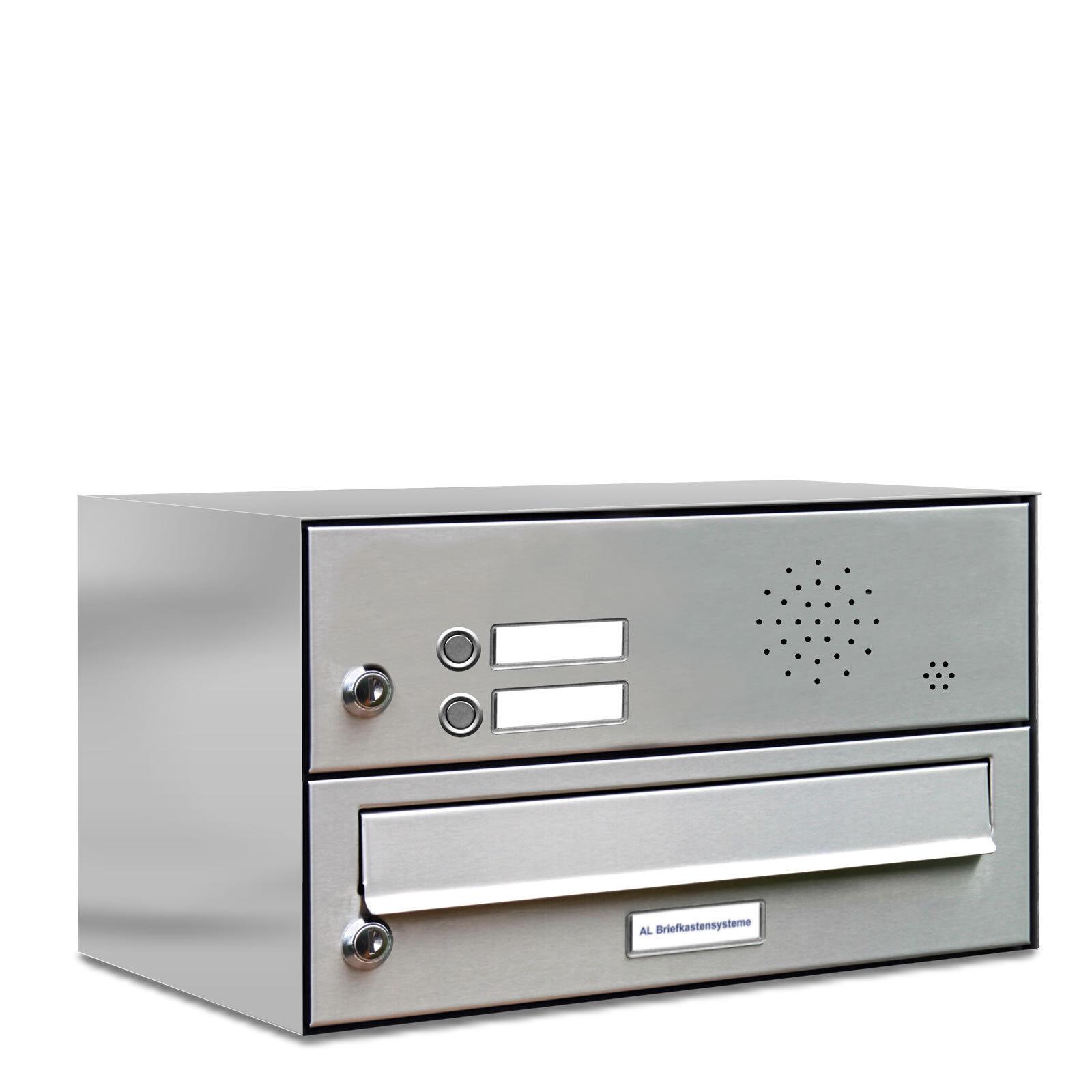 1er Premium V2A Edelstahl Briefkasten Anlage mit Klingel 1 Fach A4 Postkasten