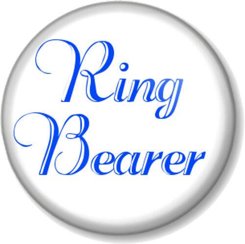 "Ring Bearer 1/"" Pin Button Badge Wedding Day Bride Groom Ceremony Best Man Blue"