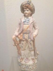 "Antique GERMAN BOY STATUE 12"" Porcelain Bisque Figurine Vtg  Details Gold Guild"