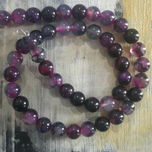 Natural Dragon Vein Agate 8mm Violet Red  Approx 48 pce Oz Seller Free postage
