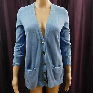 bd232307c5 J. Jill Cardigan Sweater Button Front Blue 3 4 Sleeve Vneck Pockets ...