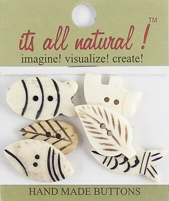 Cute Fishes 20x30mm Handmade Natural Bone Buttons Antique Ivory