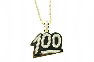14K Gold Plated Hip Hop Ice CZ Bling 100 Emoji Pendant Yellow Rope Chain