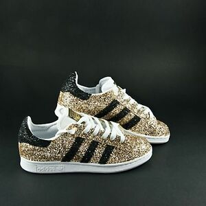 Details about Shoes Adidas Stan Smith Gold Glitter & Glitter Black Also on Tip