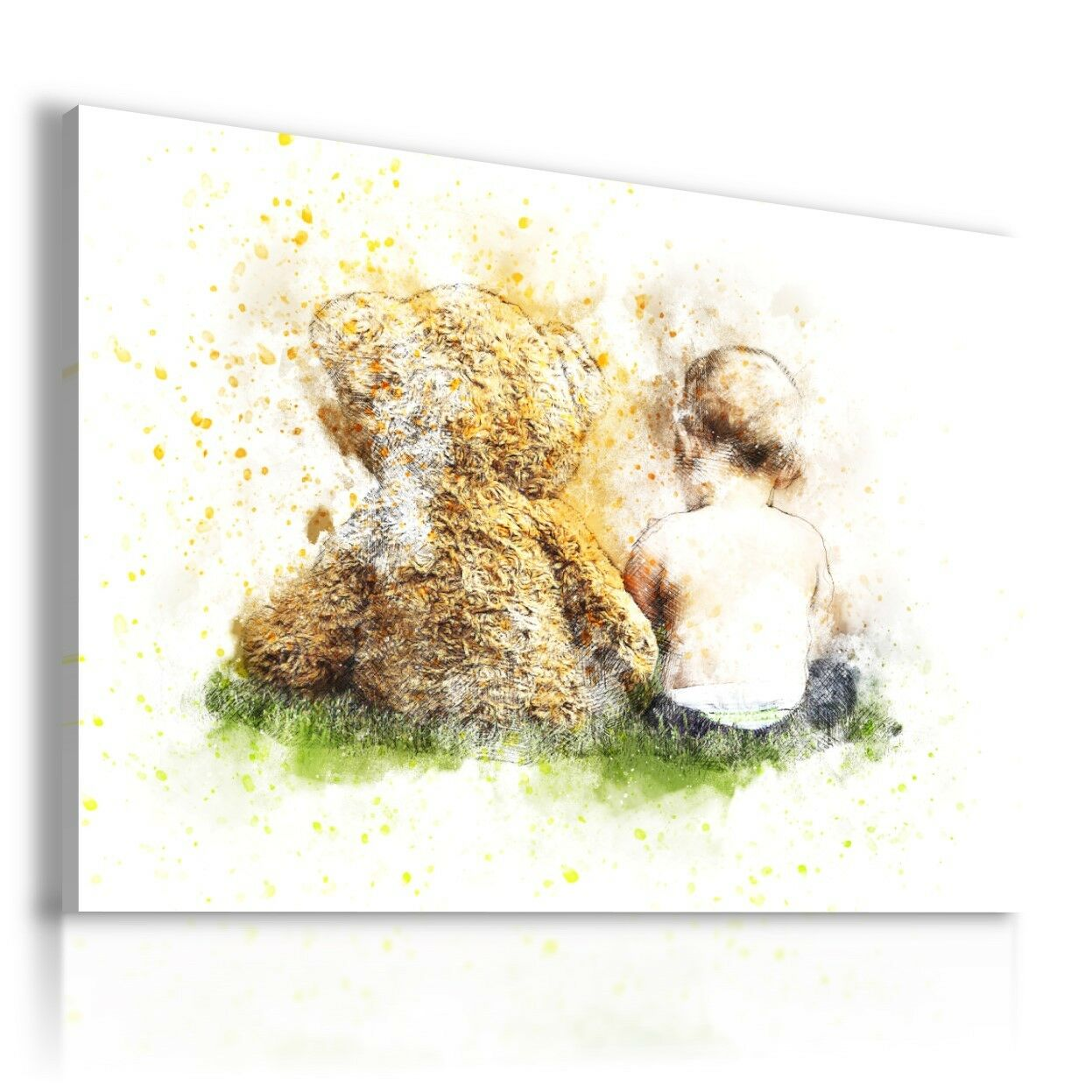 PAINTING DRAWING KIDS TEDDY BEAR BOY PRINT Canvas Wall Art R178 MATAGA