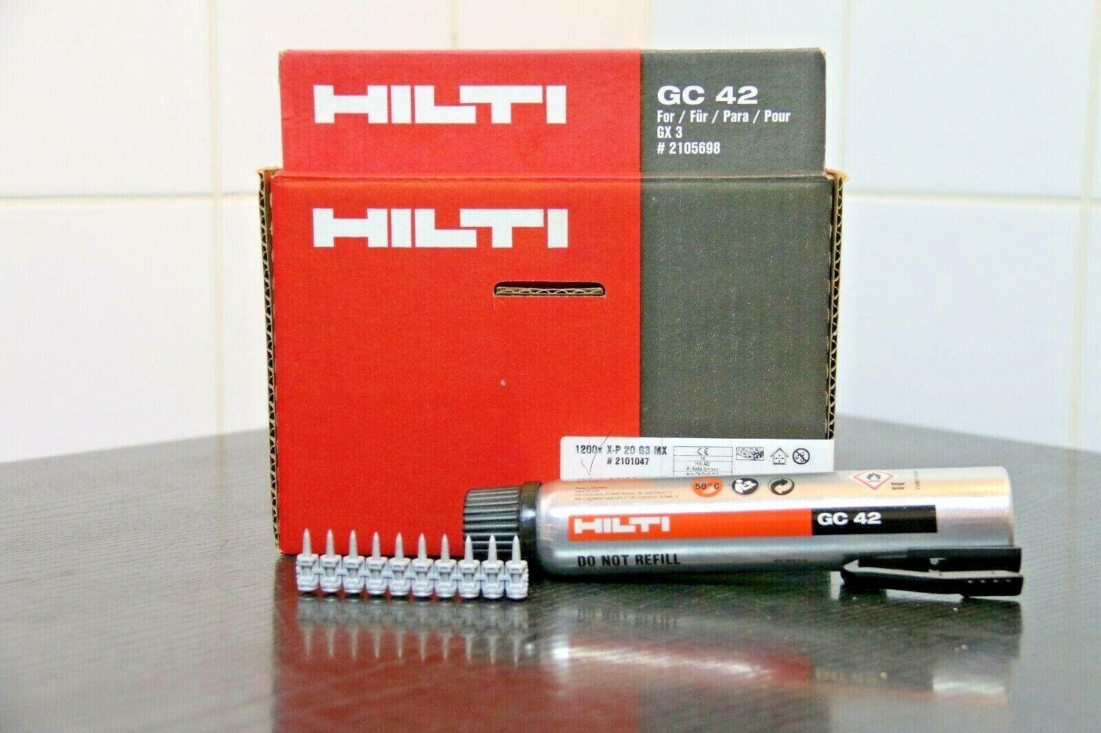 HILTI 1200 Stk magaziniert NAGEL Nägel X-P 20 G3 MX 20mm + GC 42 Gas STARK Beton