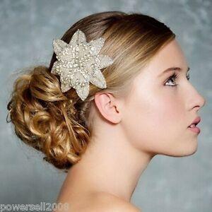 Image Is Loading New Crystal Bridal Hair Flower Fascinator Wedding