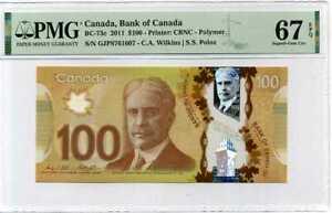 CANADA-100-DOLLARS-ND-2011-P-110-POLYMER-WILKINS-POLOZ-SUPERB-GEM-UNC-PMG-67-EPQ