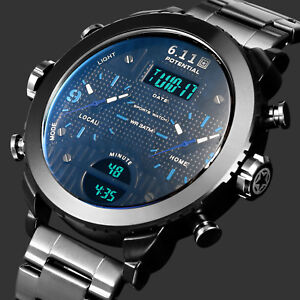 Mens Watch Quartz Digital Black Stainless Steel Case Dual Core Analog Display