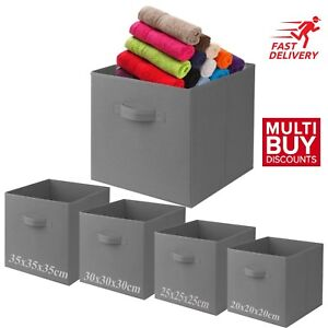 Grey-Foldable-Square-Canvas-Storage-colapsible-Folding-Box-Fabric-Cubes-Toys