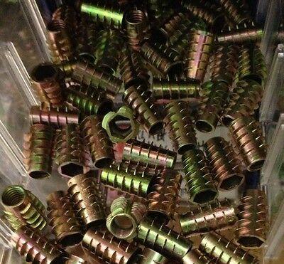 15 Pecs M6 X 10mm Screw In Unhead Hex Drive Threaded Wood Insert