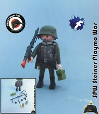 SOLDADO + MG42 WEHRMACH 2 GUERRA MUNDIAL WW2 GERMAN MACHINEGUN SOLDIER PLAYMOBIL