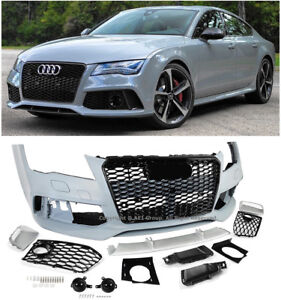 Rs7 Style Front Bumper Cover Black Trim Grille Set For 12 15 Audi A7