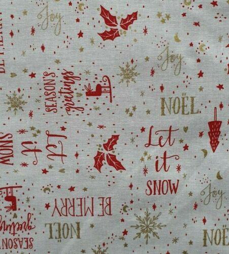 100/% Algodón Tela Rose /& Hubble Navidad Navidad Nieve Noel