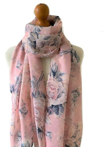LADIES PINK GREY LARGE FLOWER FLORAL ROSE PRINT SCARF FEATHERED EDGING GIFT IDEA