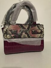 Guess Cate Mini Crossbody Satchel Tote purse Handbag Crocodile Embossed  Plum New dac8aaa2e05bd