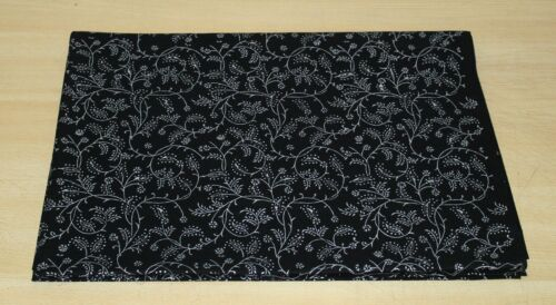 3 Yards Cotton Fabric Black Silver Dressmaking Clothes Indian Hand Block Printed