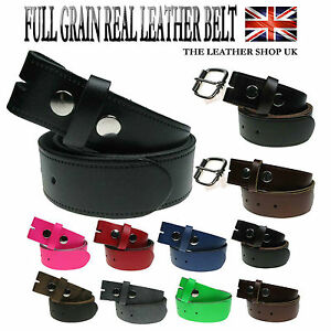Nouveau Authentique Cuir Complet Pression Snap On Homme Ceinture En Cuir Made In The Uk-afficher Le Titre D'origine