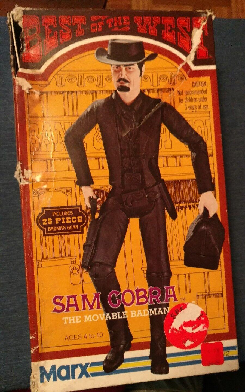Marx Johnny West mejor del Oeste Sam cobra con caja, instrucciones y accesorios