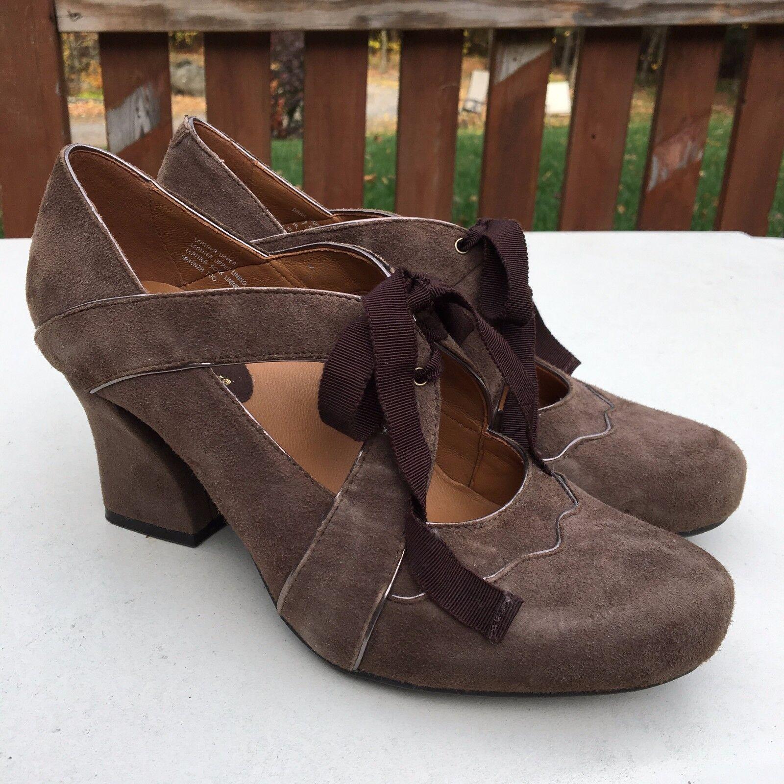 EARTHIES Sarenza Brown Taupe Suede Mary Jane Heels Retro 20s Speakeasy  169 7.5