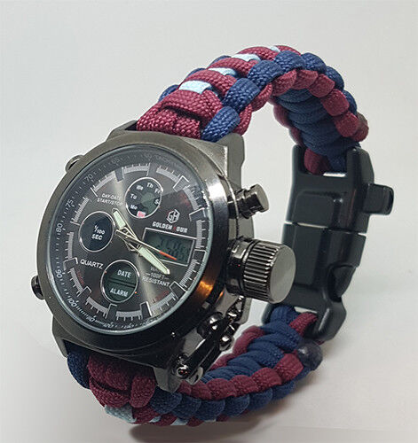 Paracord Watch with The Royal Air Force Cadets Colours Great Gift