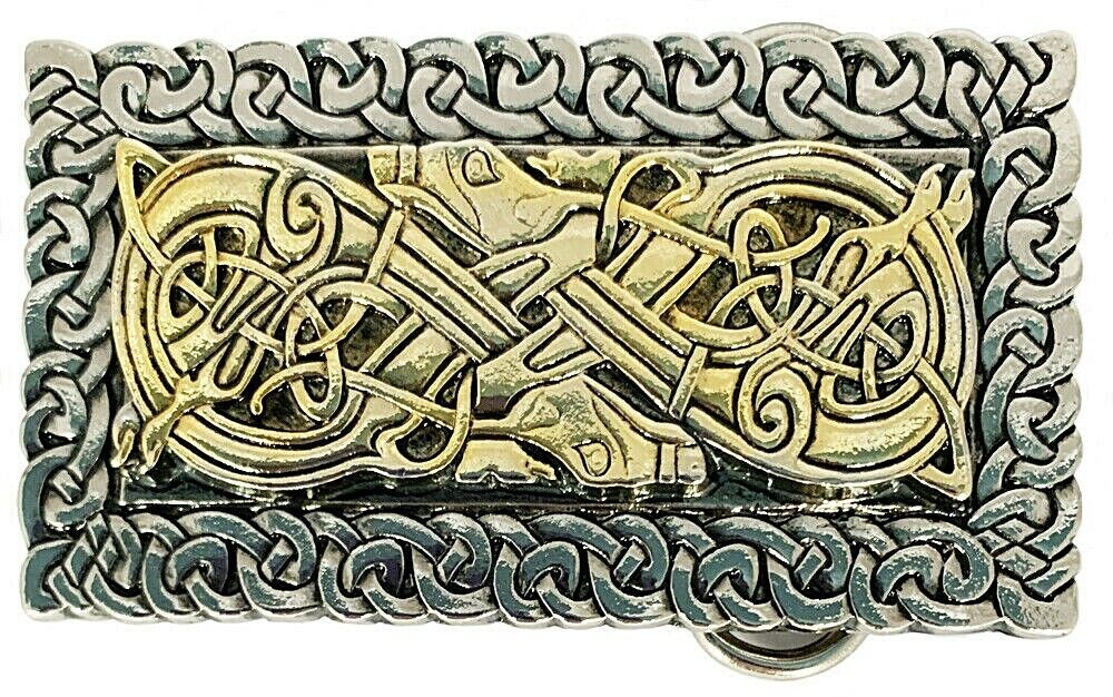 Belt Buckle CELTIC DOGS OBLONG 24 Carat Gold accents Rectangle by Dragon Designs