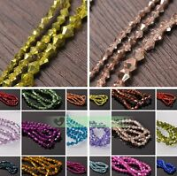 Hot 3mm 4mm 6mm Bicone Faceted Crystal Glass Loose Spacer Beads Jewelry Findings