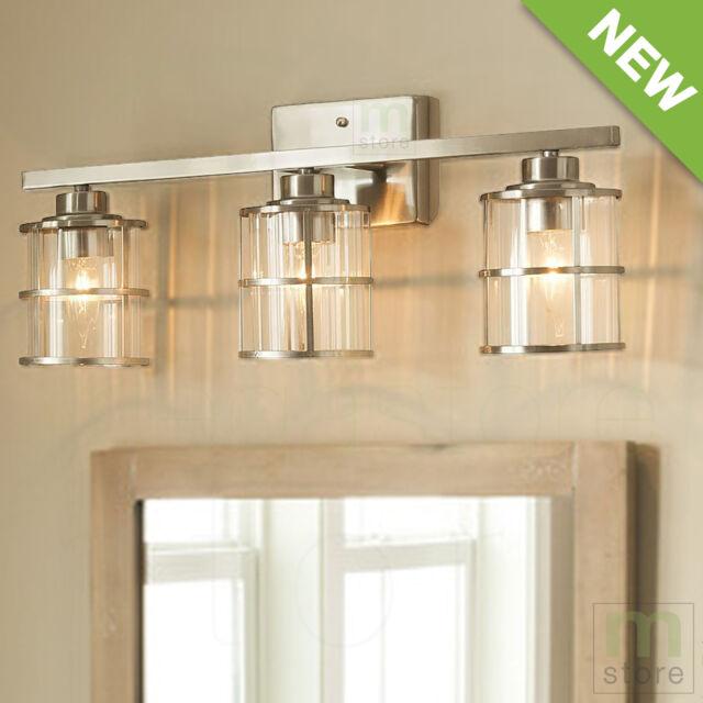 Bathroom Vanity 3 Light Fixture Brushed Nickel Cage Wall Lighting Allen Roth